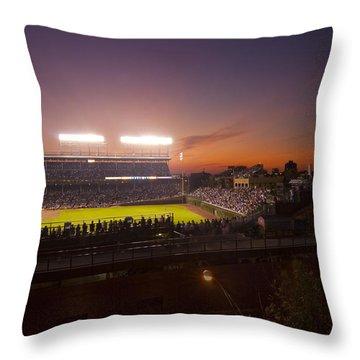 Wrigley Field At Dusk Throw Pillow