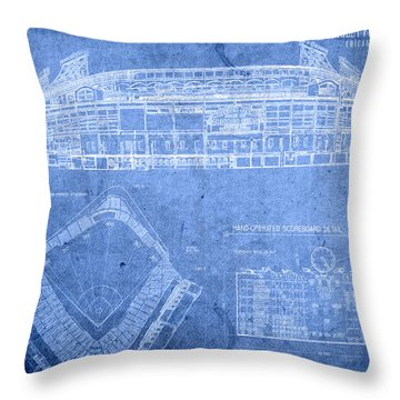 Wrigley Field Chicago Illinois Baseball Stadium Blueprints Throw Pillow
