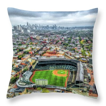 Wrigley Field Chicago Skyline Throw Pillow