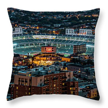Wrigley Field From Park Place Towers Dsc4678 Throw Pillow by Raymond Kunst