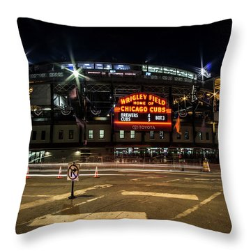 Wrigley Field Marquee At Night Throw Pillow