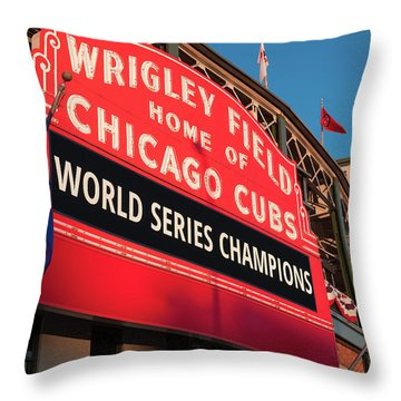 Wrigley Field World Series Marquee Angle Throw Pillow