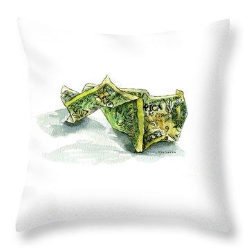 Wrinkled Dollar Throw Pillow