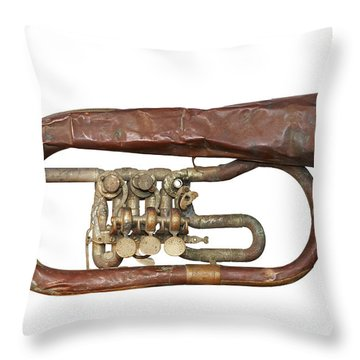Wrinkled Old Trumpet Throw Pillow by Michal Boubin