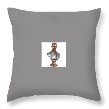 Obama Bronze Bust Throw Pillow by Dothlyn Morris Sterling