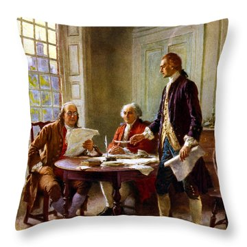 Writing The Declaration Of Independence Throw Pillow