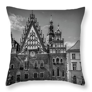 Wroclaw Main Market Square And Town Hall - Panorama Monochrome Throw Pillow