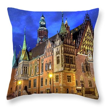 Wroclaw Old Town Hall By Night  Throw Pillow