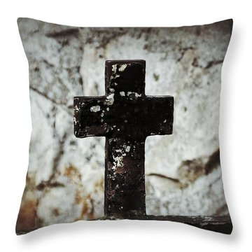 Wrought Iron Cross Against Stone Throw Pillow