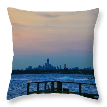 Wtc Over Jamaica Bay From Rockaway Point Pier Throw Pillow by Maureen E Ritter