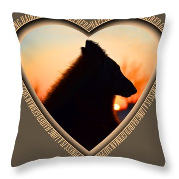 Wuffstar Happiness Is A Long Haired German Shepherd Heart Throw Pillow