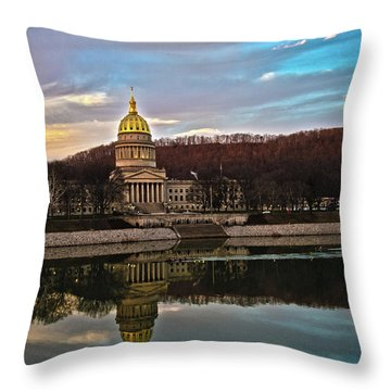 Wv State Capitol At Dusk Throw Pillow