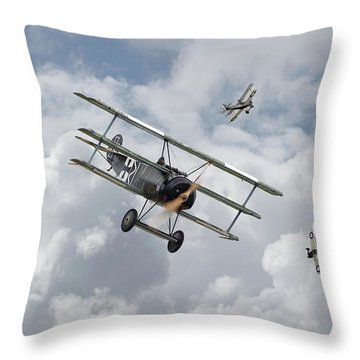 Throw Pillow featuring the photograph Ww1 - Fokker Dr1 - Predator by Pat Speirs