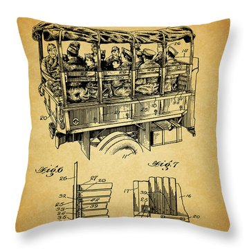 Ww2 Military Transport Vehicle Throw Pillow by Dan Sproul