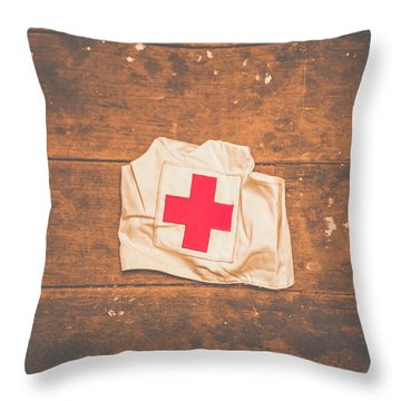 Ww2 Nurse Cap Lying On Wooden Floor Throw Pillow