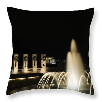 Throw Pillow featuring the photograph Wwii Memorial Fountain by Angela DeFrias