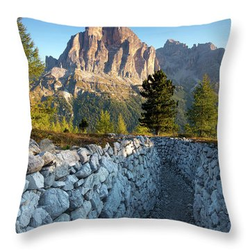 Wwi Trenches - Dolomites Throw Pillow by Brian Jannsen