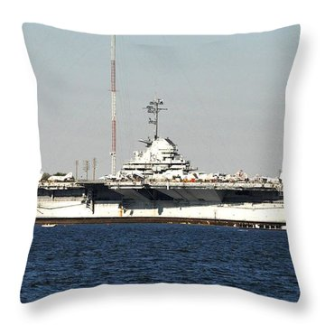 Wwii Aircraft Carrier Uss Yorktown Throw Pillow