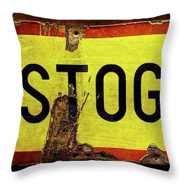 Wwii Bastogne Town Sign Throw Pillow
