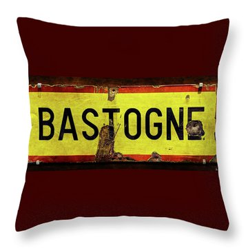 Wwii Bastogne Town Sign Throw Pillow