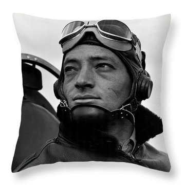 Throw Pillow featuring the photograph Wwii Marine Corps Ace Major Smith by Historic Image