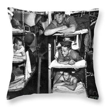 Wwii, Usn Sailors In Bunks, 1943 Throw Pillow