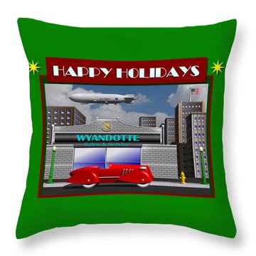 Throw Pillow featuring the digital art Wyandotte Happy Holidays by Stuart Swartz