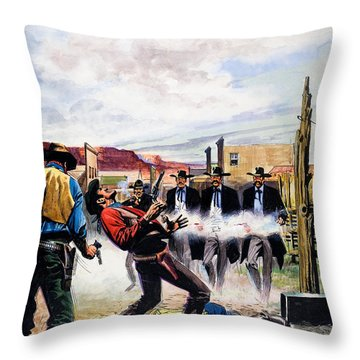 Wyatt Earp And The Battle Of The Ok Corral Throw Pillow