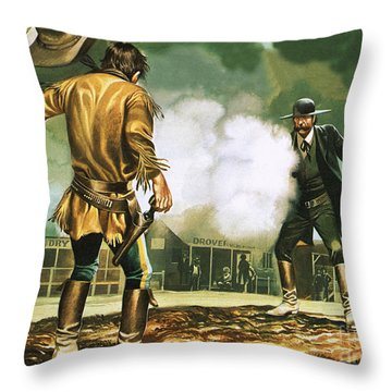 Wyatt Earp At Work In Dodge City Throw Pillow