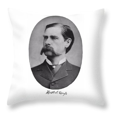Wyatt Earp Autographed Throw Pillow