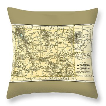 Wyoming Antique Map 1891 Throw Pillow