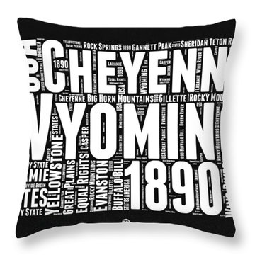 Wyoming Black And White Word Cloud Map Throw Pillow by Naxart Studio