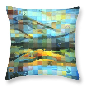 Throw Pillow featuring the painting Wyoming Quilt by Dawn Senior-Trask