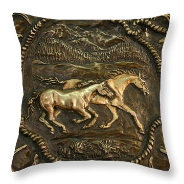 Throw Pillow featuring the sculpture Wyoming Ranch Horses by Dawn Senior-Trask