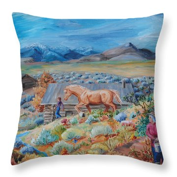 Wyoming Ranch Scene Throw Pillow