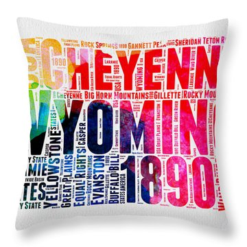 Wyoming Watercolor Word Cloud Map Throw Pillow by Naxart Studio
