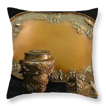 Wyoming Wildflowers Bronzes Throw Pillow by Dawn Senior-Trask