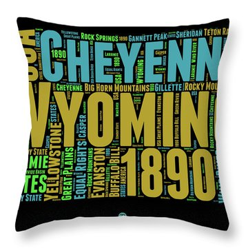 Wyoming Word Cloud Map 1 Throw Pillow by Naxart Studio