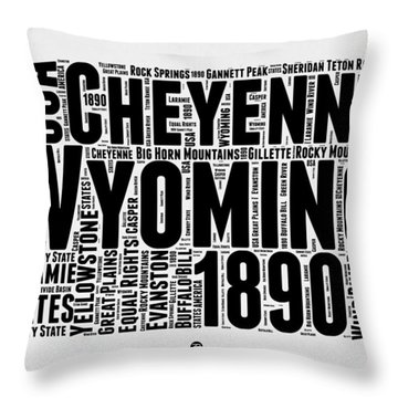 Wyoming Word Cloud Map 2 Throw Pillow by Naxart Studio