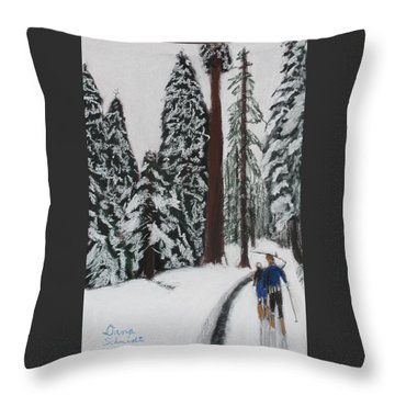 X-c Skiing In The Ca Redwoods 14 Years Ago Throw Pillow