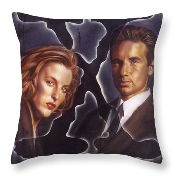 X-files Throw Pillow by Timothy Scoggins