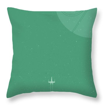 X-wing Meets Death Star Throw Pillow by Samuel Whitton