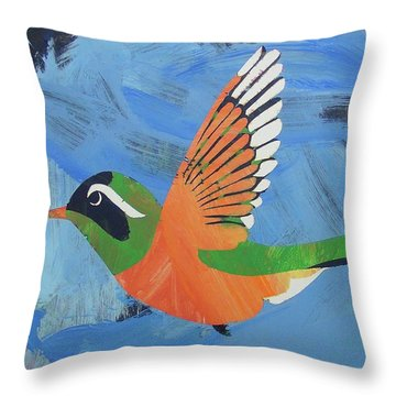 Throw Pillow featuring the painting Xantus Hummingbird by Candace Shrope