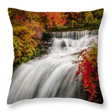 Throw Pillow featuring the photograph Fall At Minnehaha Falls by Patti Deters