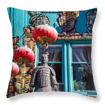 Xian Soldier With Graffiti Throw Pillow