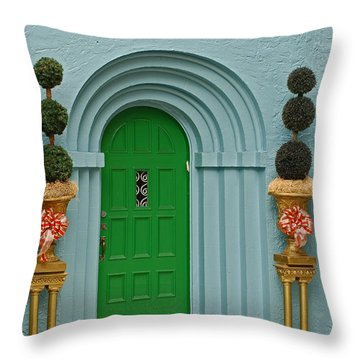 Xmas Door Throw Pillow