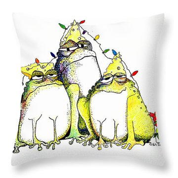 Xmas Lights Throw Pillow by Pat Saunders-White