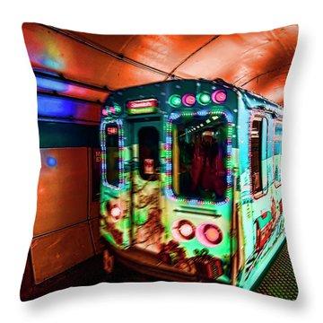 Xmas Subway Train Throw Pillow