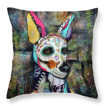Xolo Mexican Hairless Day Of The Dead Throw Pillow