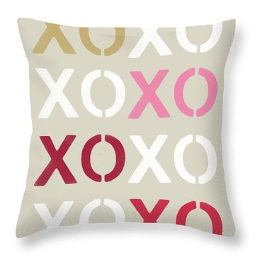 Throw Pillow featuring the mixed media Xoxo- Art By Linda Woods by Linda Woods